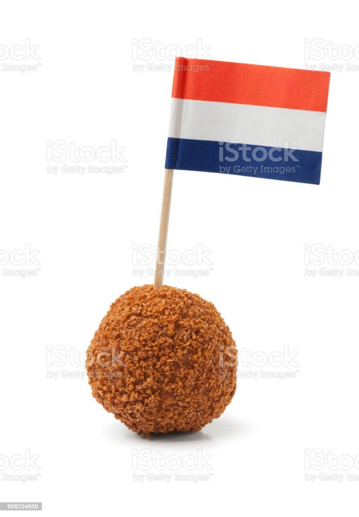 Single dutch traditional snack bitterbal with a dutch flag stock photo