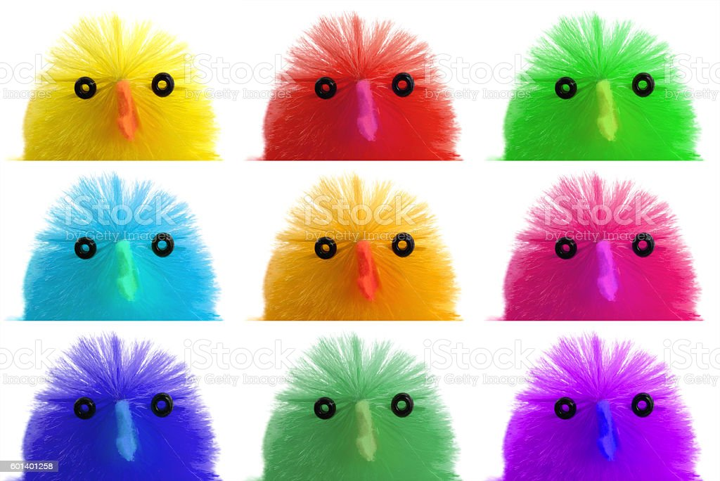 Single easter chick, isolated, close-up stock photo