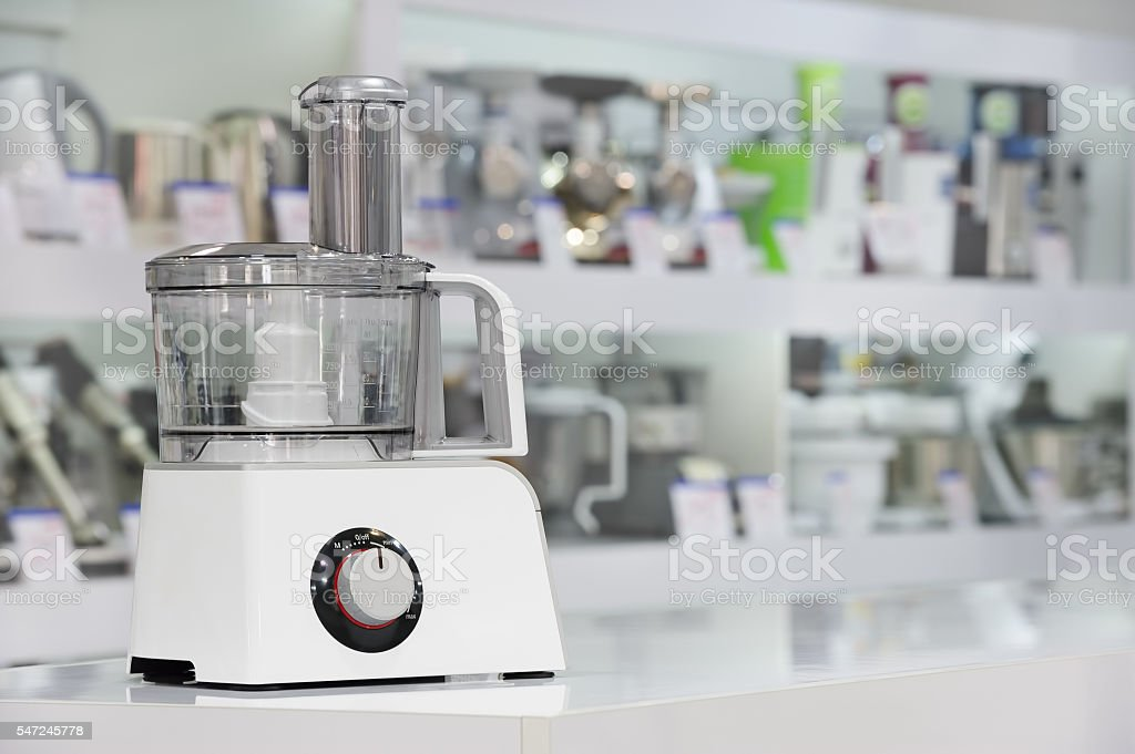 single electric food processor in retail store stock photo