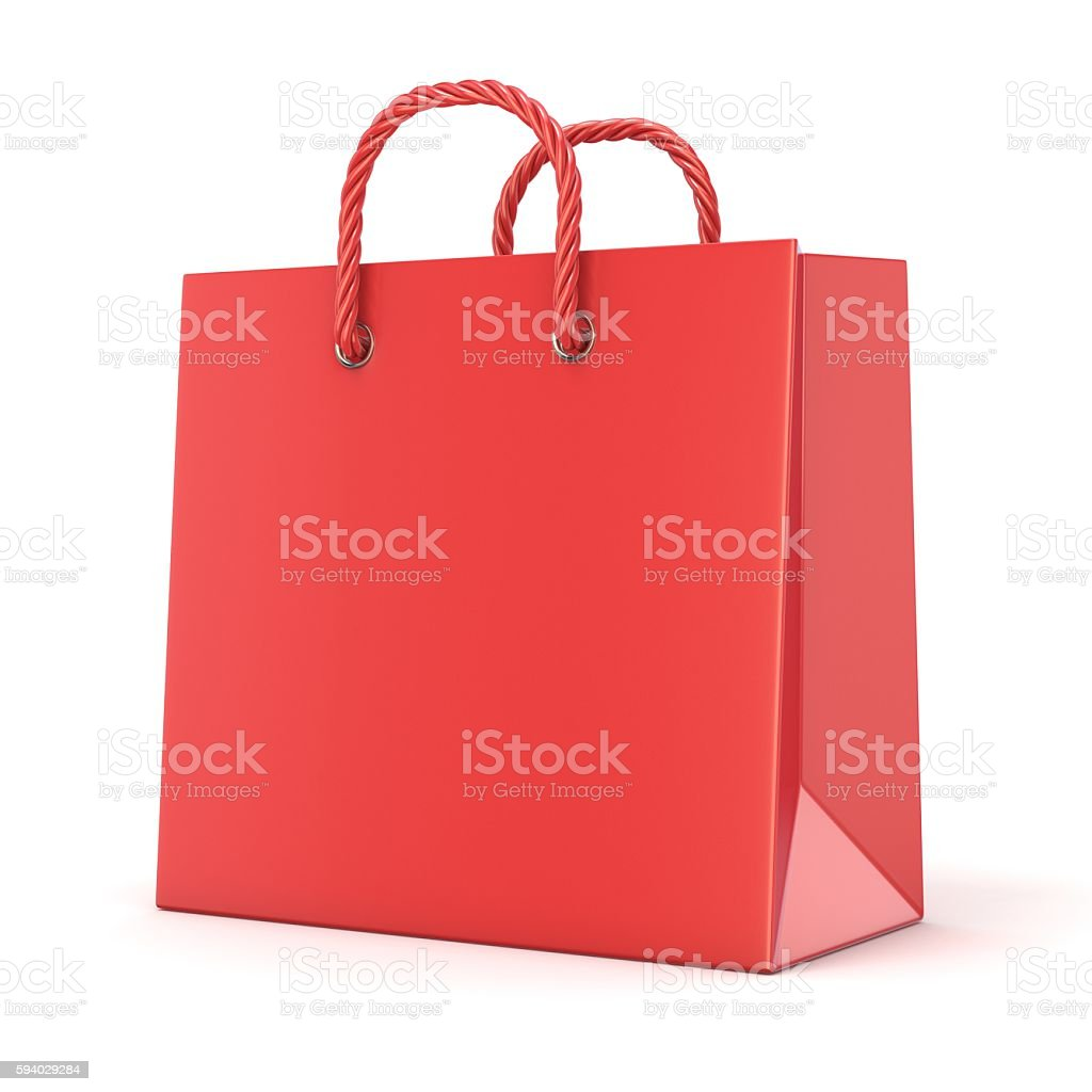 Single, empty, red, blank shopping bag. 3D stock photo