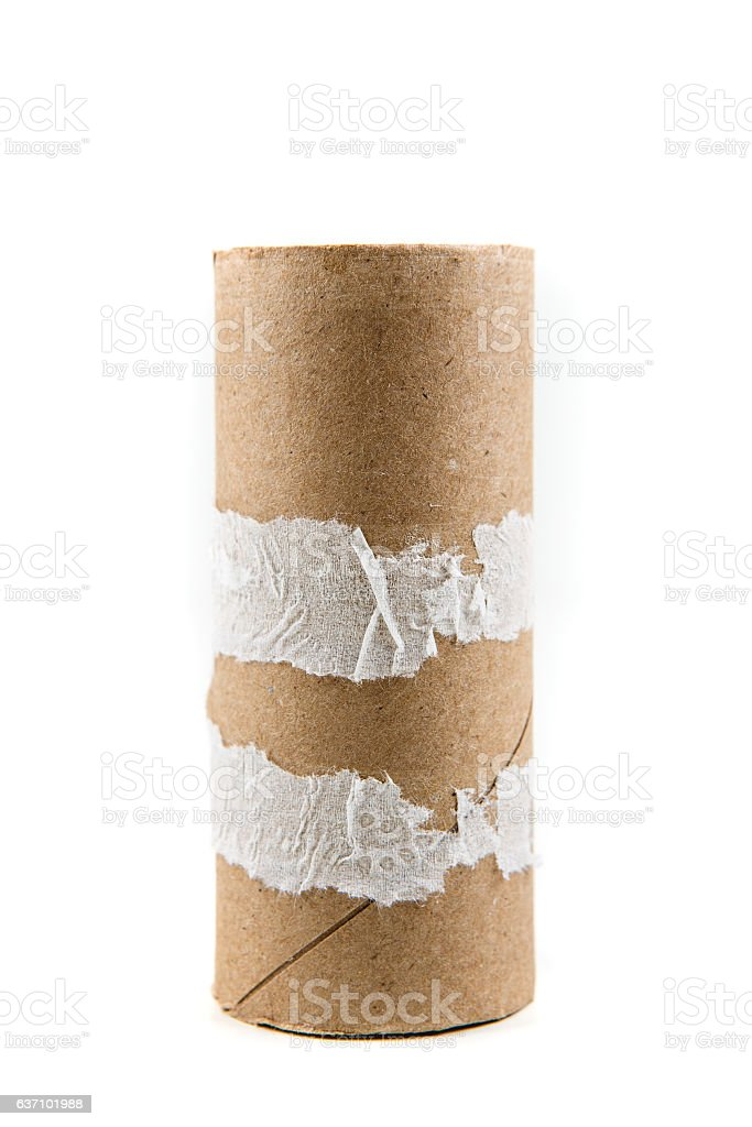 Single empty toilet paper roll isolated on a white background stock photo