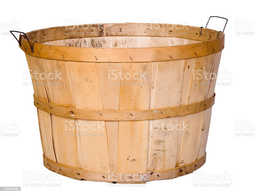 Single empty wooden basket isolated on white royalty-free stock photo