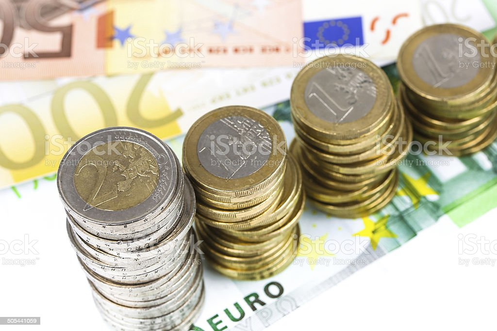 Single European currency decreasing royalty-free stock photo
