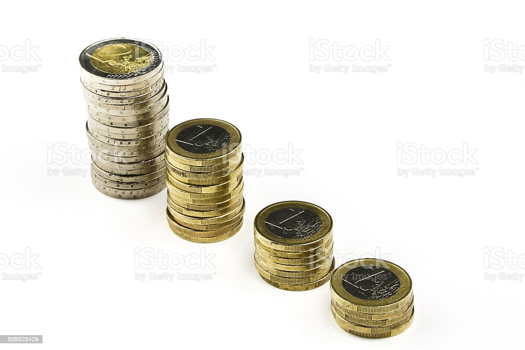 Single European currency decreasing royalty-free stock photo