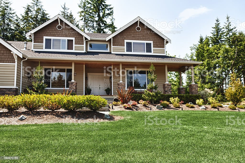 Single Family Home beautifully landscaped stock photo