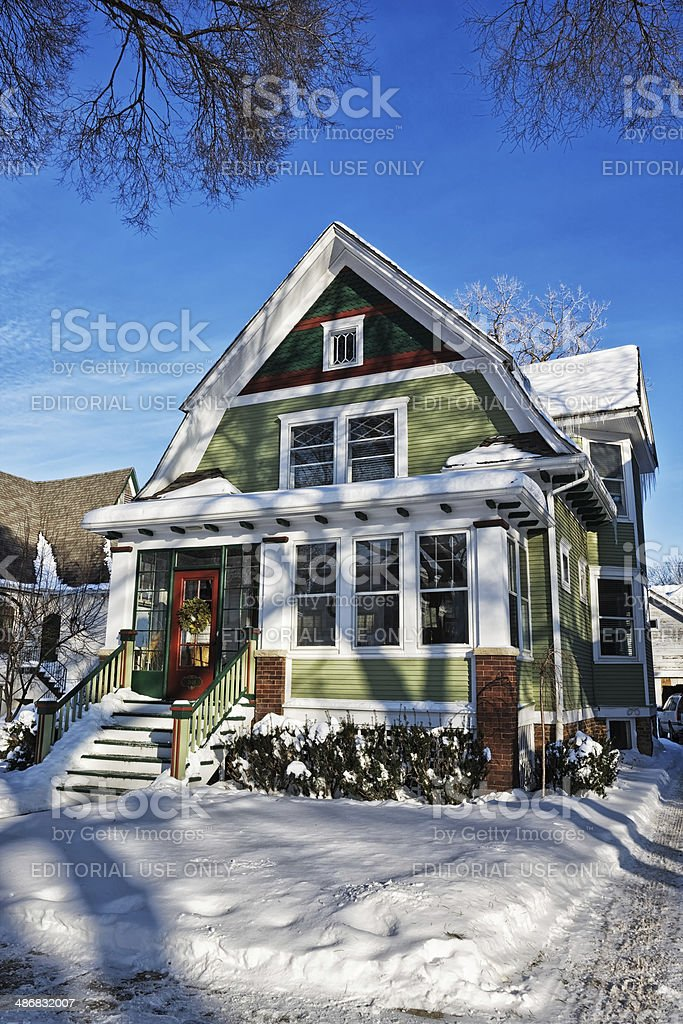 Single Family Home in Chicago Northwest Neighborhood stock photo