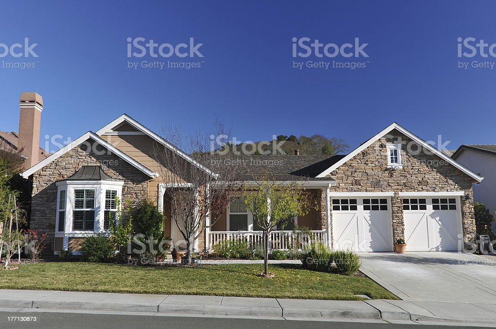 Single family house two storys with driveway stock photo