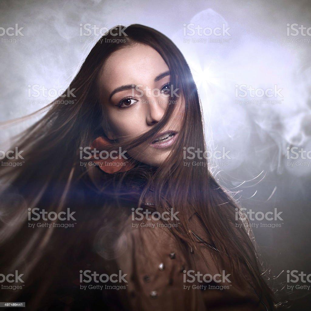 Single fashionable woman at night royalty-free stock photo