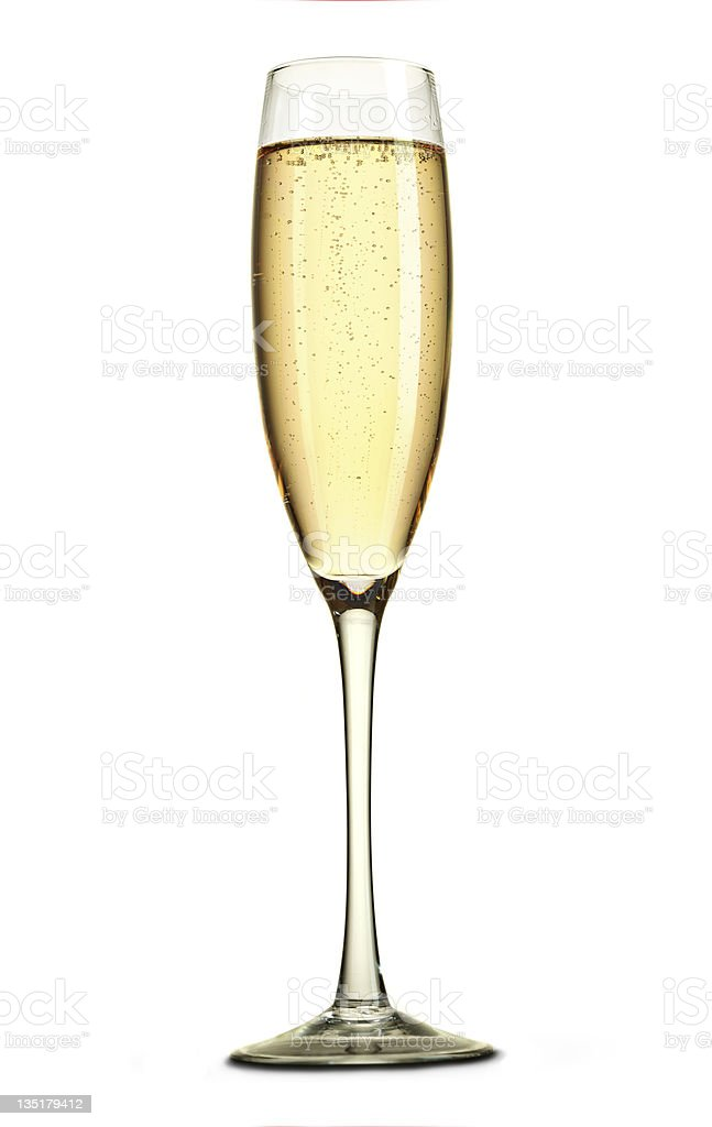 Single fluted glass of champagne stock photo