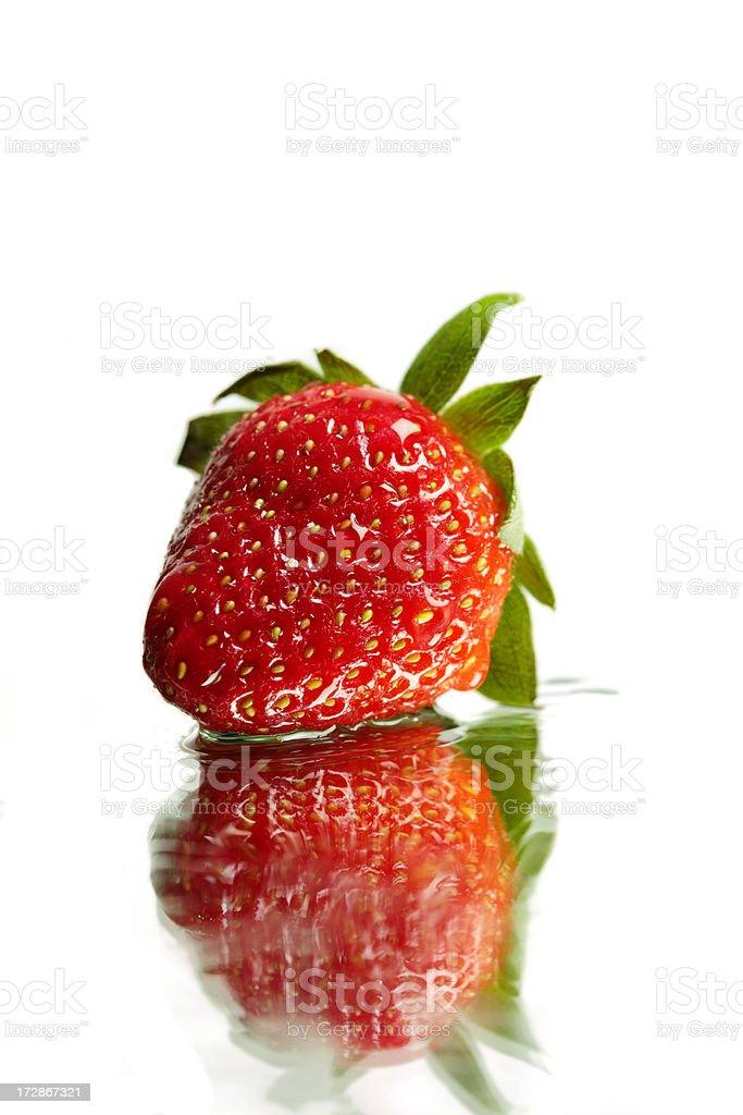 Single Fresh Strawberry - XXL. stock photo