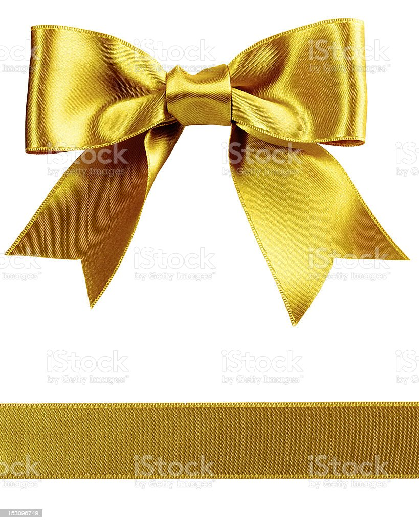 single gift bow, golden satin, with ribbon isolated on white stock photo