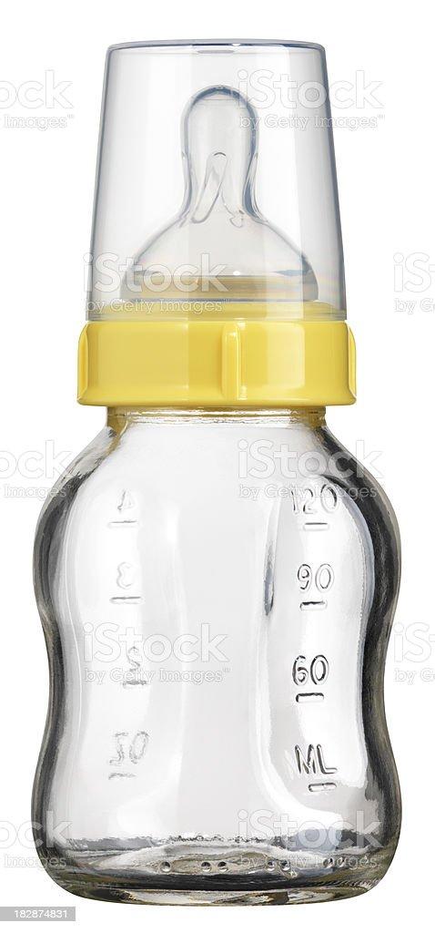 Single Glass Baby Bottle on White stock photo