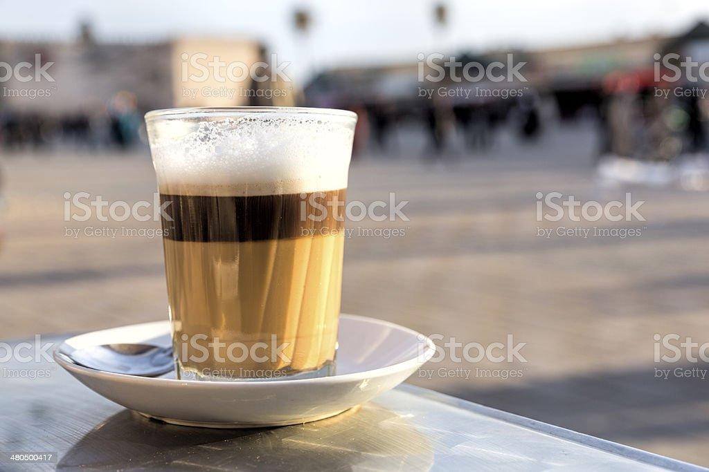 Single glass of latte macchiato, Morocco stock photo