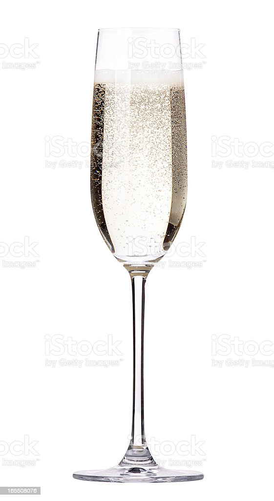 Single glass of sparkling champagne in a flute  stock photo