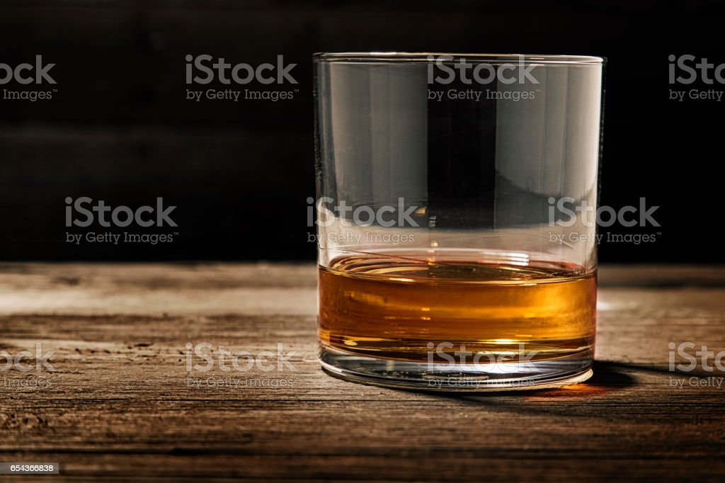 Single Glass of Straight Bourbon stock photo