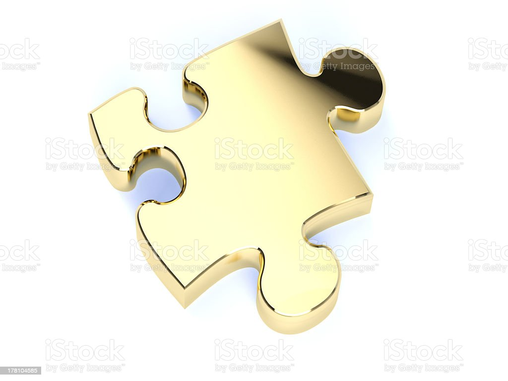 single gold puzzle royalty-free stock photo