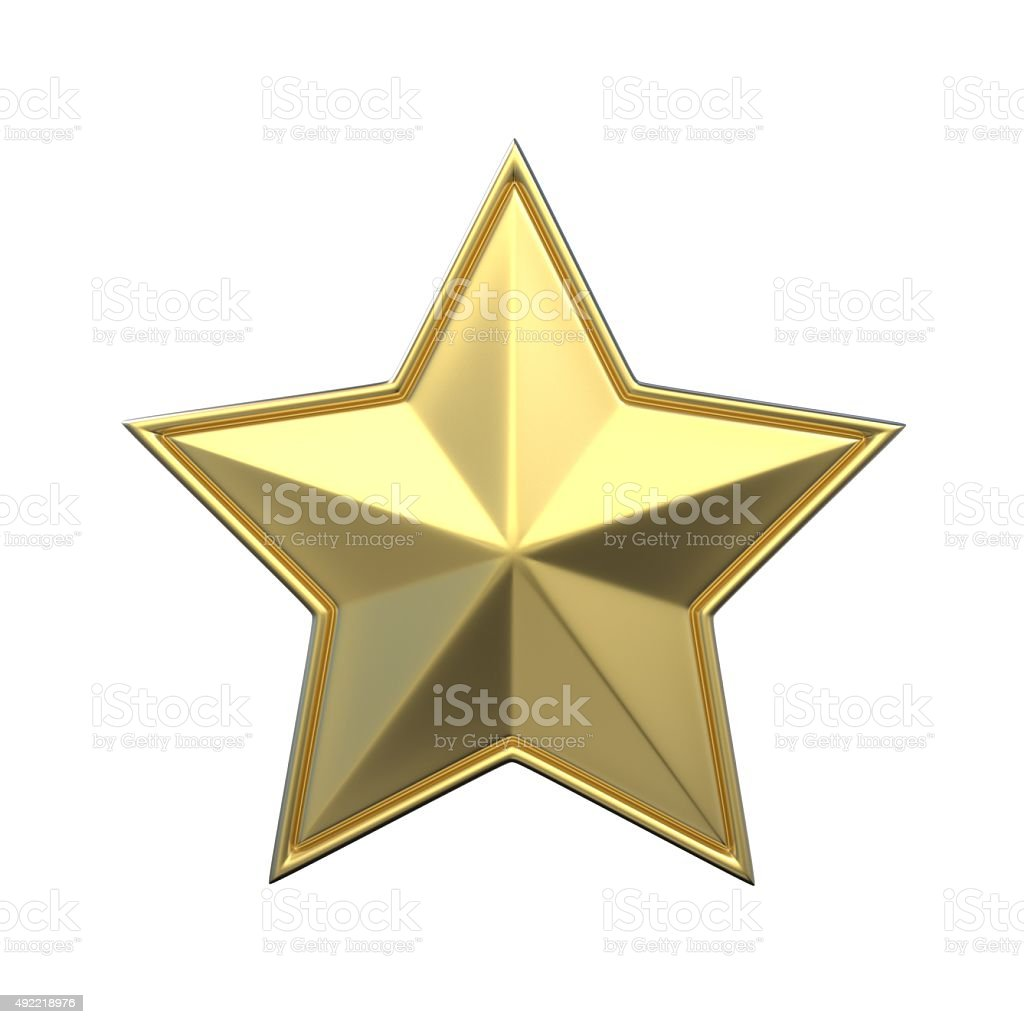 Single gold star. 3D render stock photo