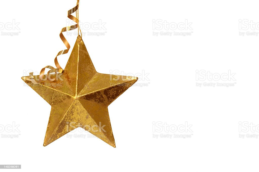 A single golden Christmas star isolated on white background royalty-free stock photo