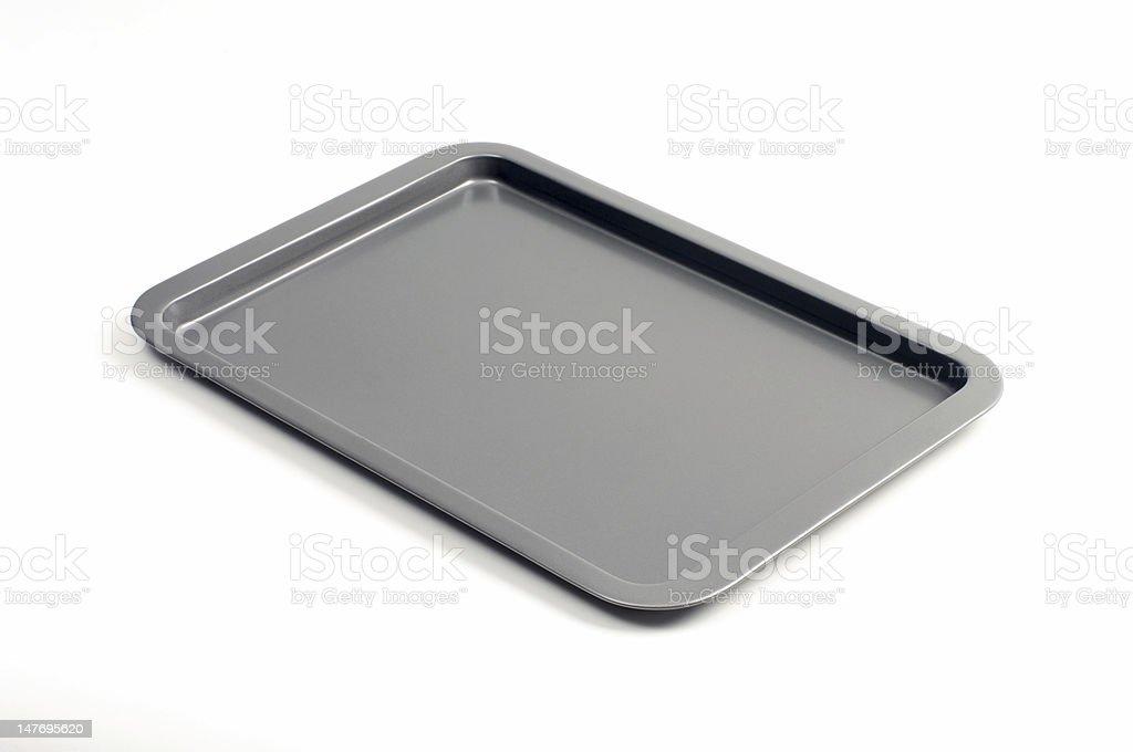 Single gray baking tray isolated on white stock photo
