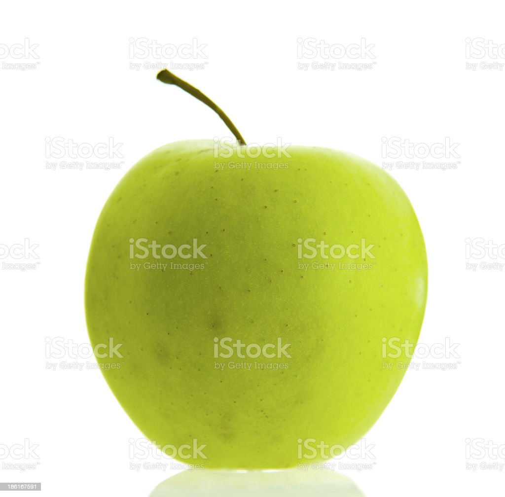 single Green apple, isolated on white background with shadow royalty-free stock photo