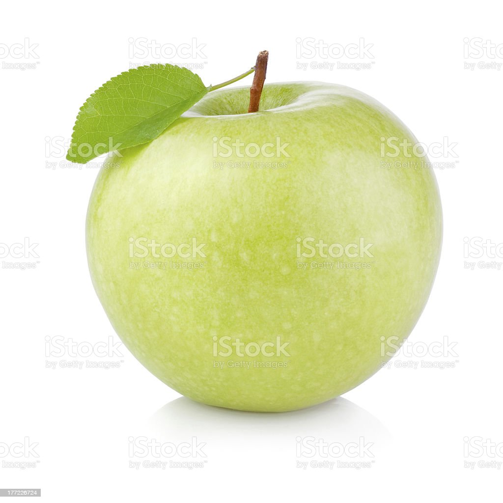 Single Green Apple with Leaf isolated on a white background royalty-free stock photo