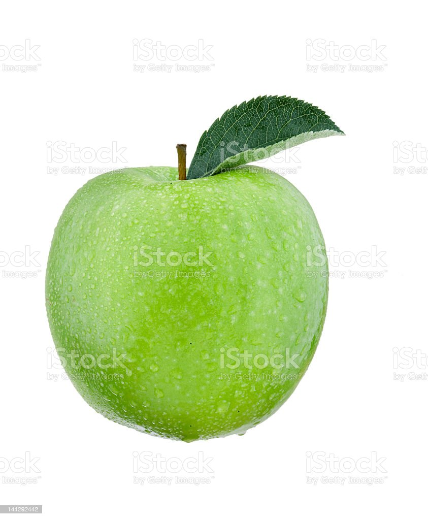Single green apple with leaf over a white background royalty-free stock photo