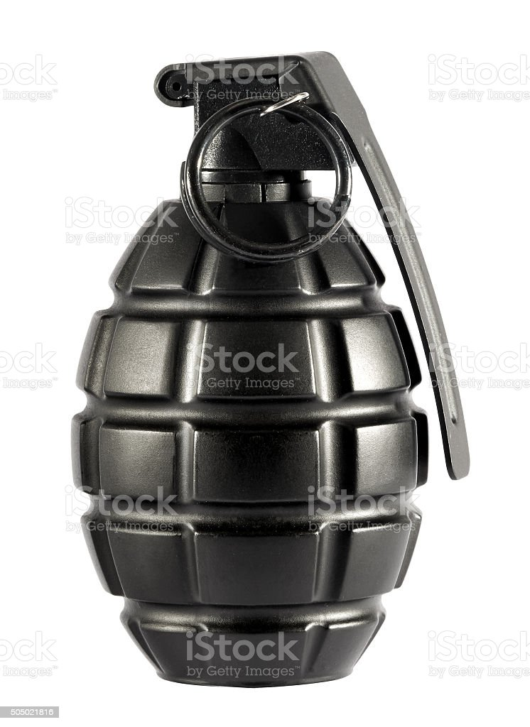 Single grenade on isolated white background stock photo