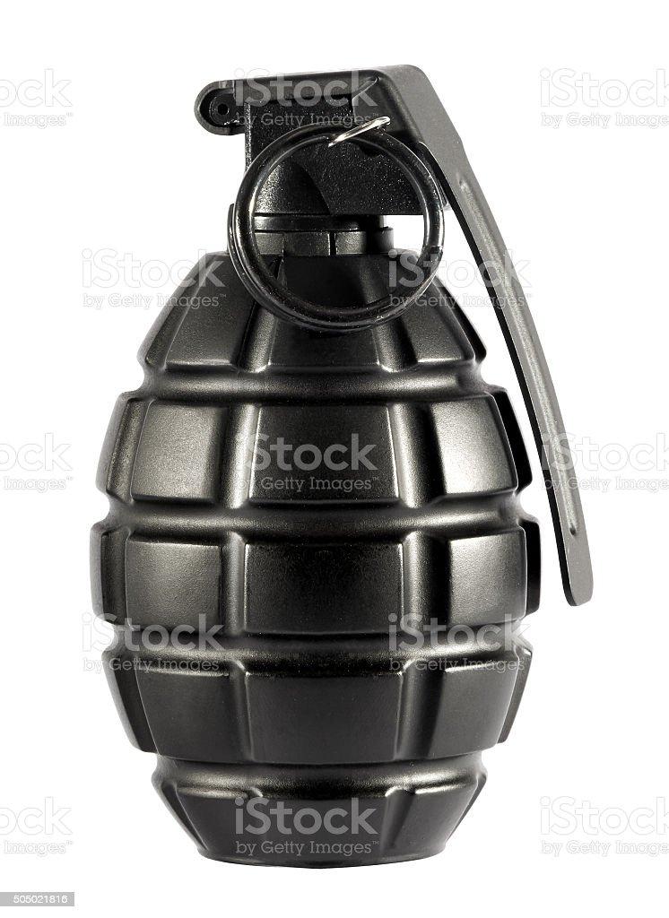 Single grenade on isolated white background stock photo