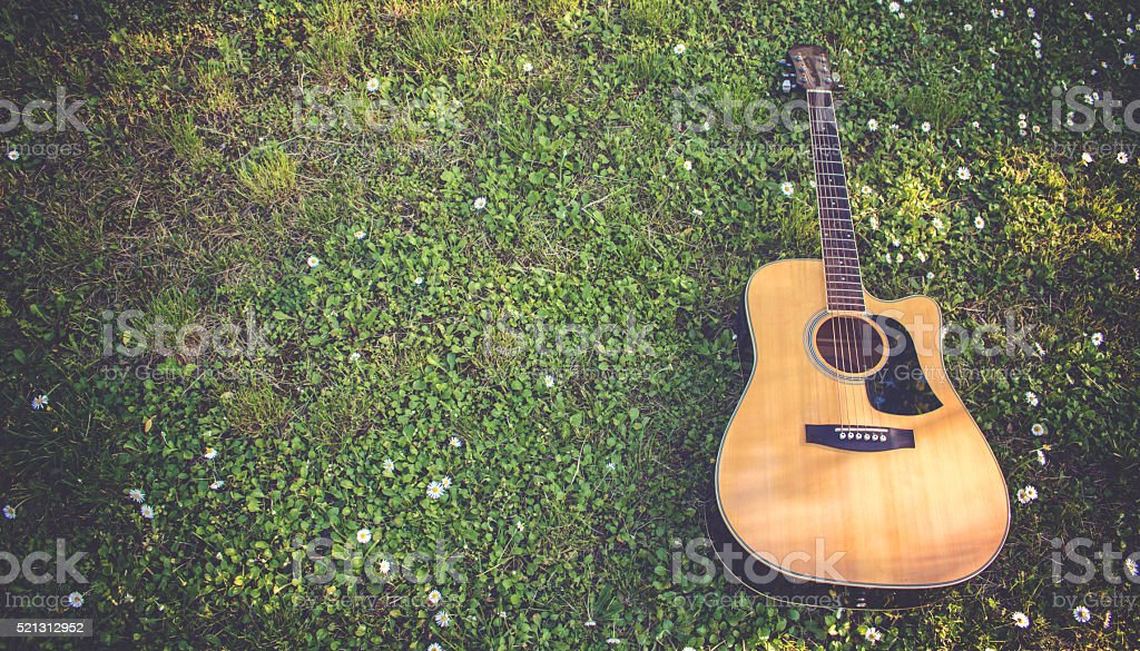 Single Guitar Laying On Grass stock photo