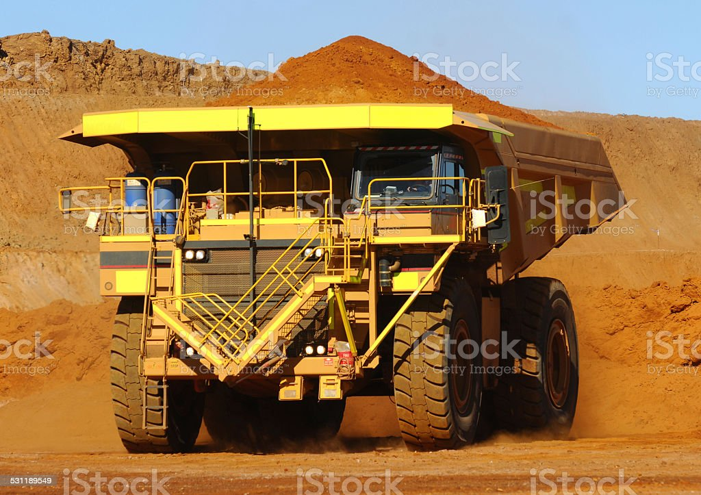 Single haul truck driving on a minesite. stock photo