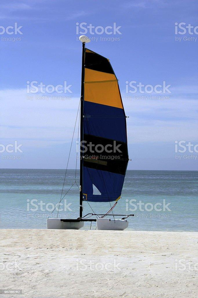 Single Hobie Cat on Jamaica Beach stock photo