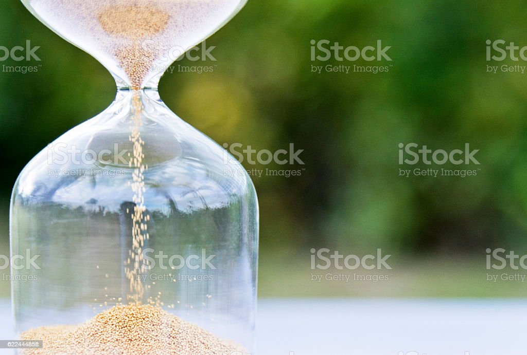 Single hourglass in a garden stock photo