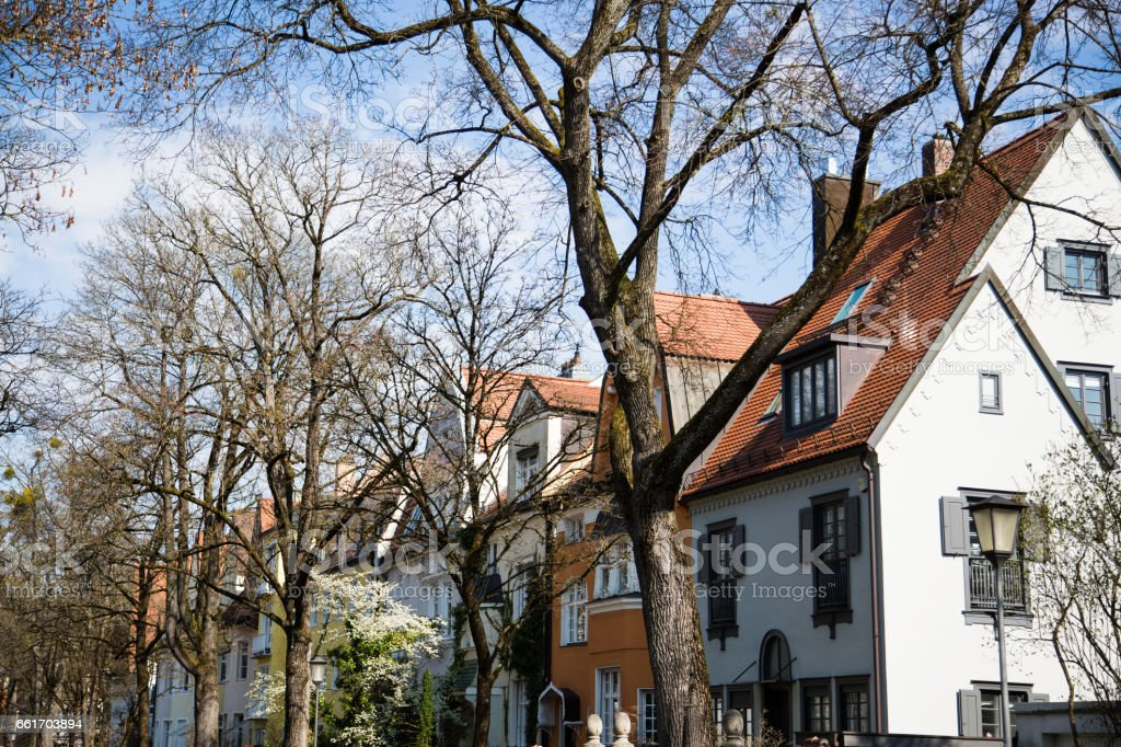 single houses in Munich, single houses in germany stock photo