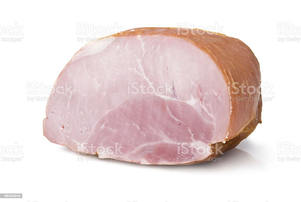 A single hunk of ham on a white background stock photo