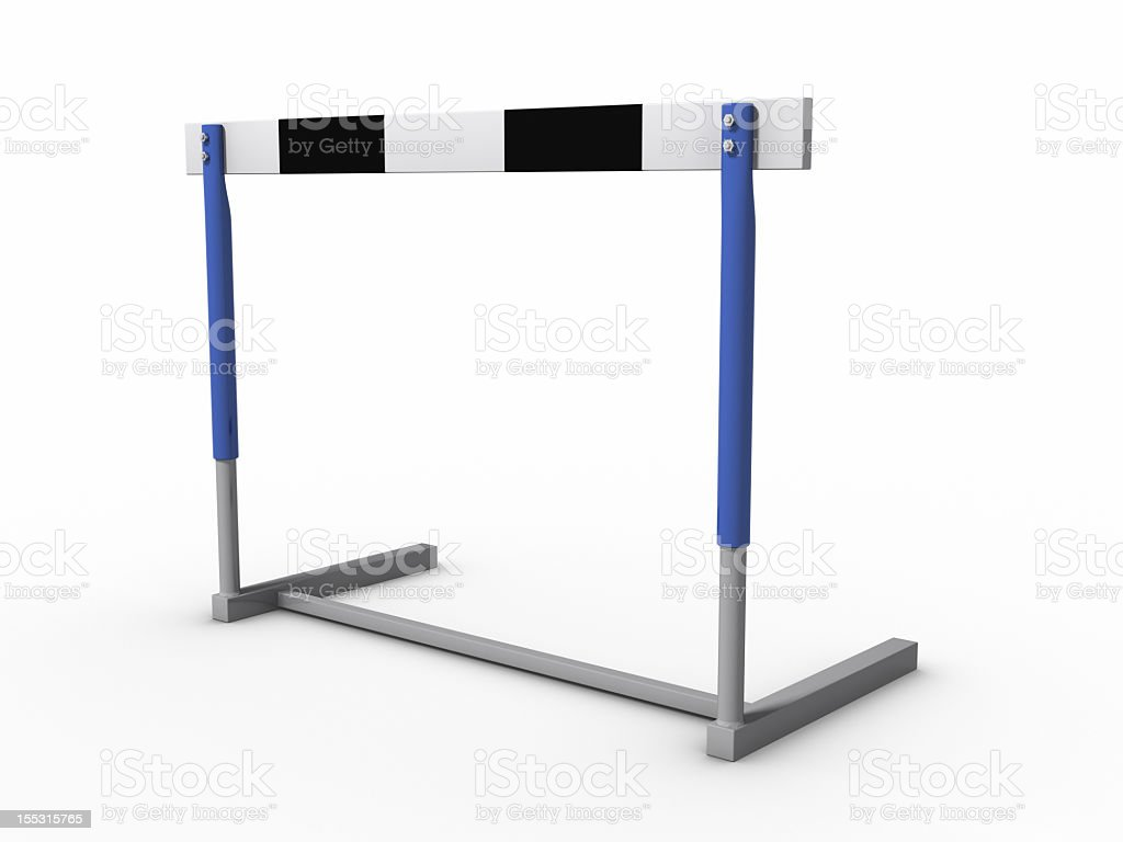A single hurdle on a white background stock photo