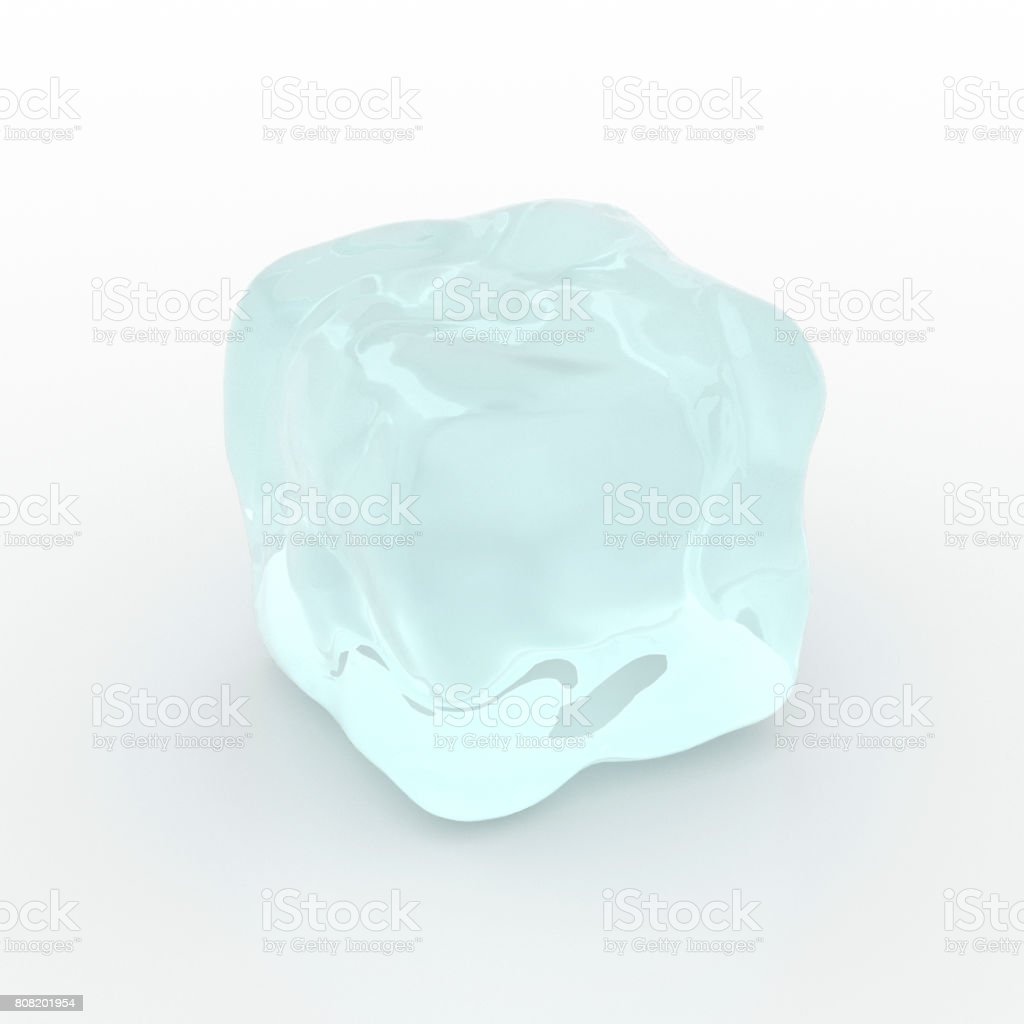 Single ice cube isolated on white background - 3D illustration stock photo