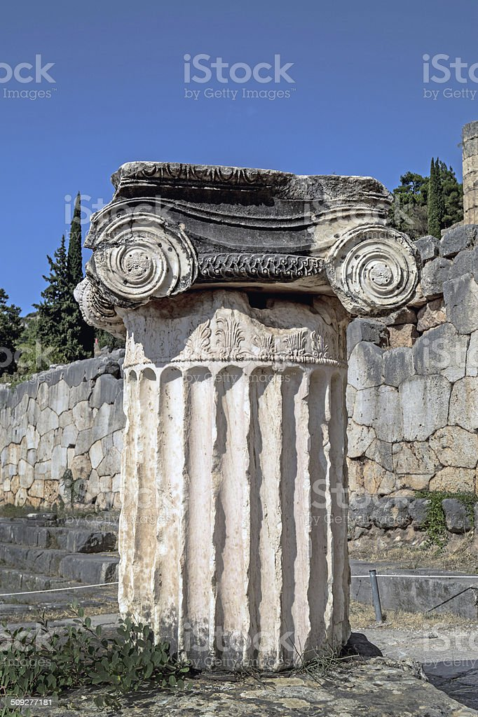 Single ionic order capital at Delphi archaeological site stock photo