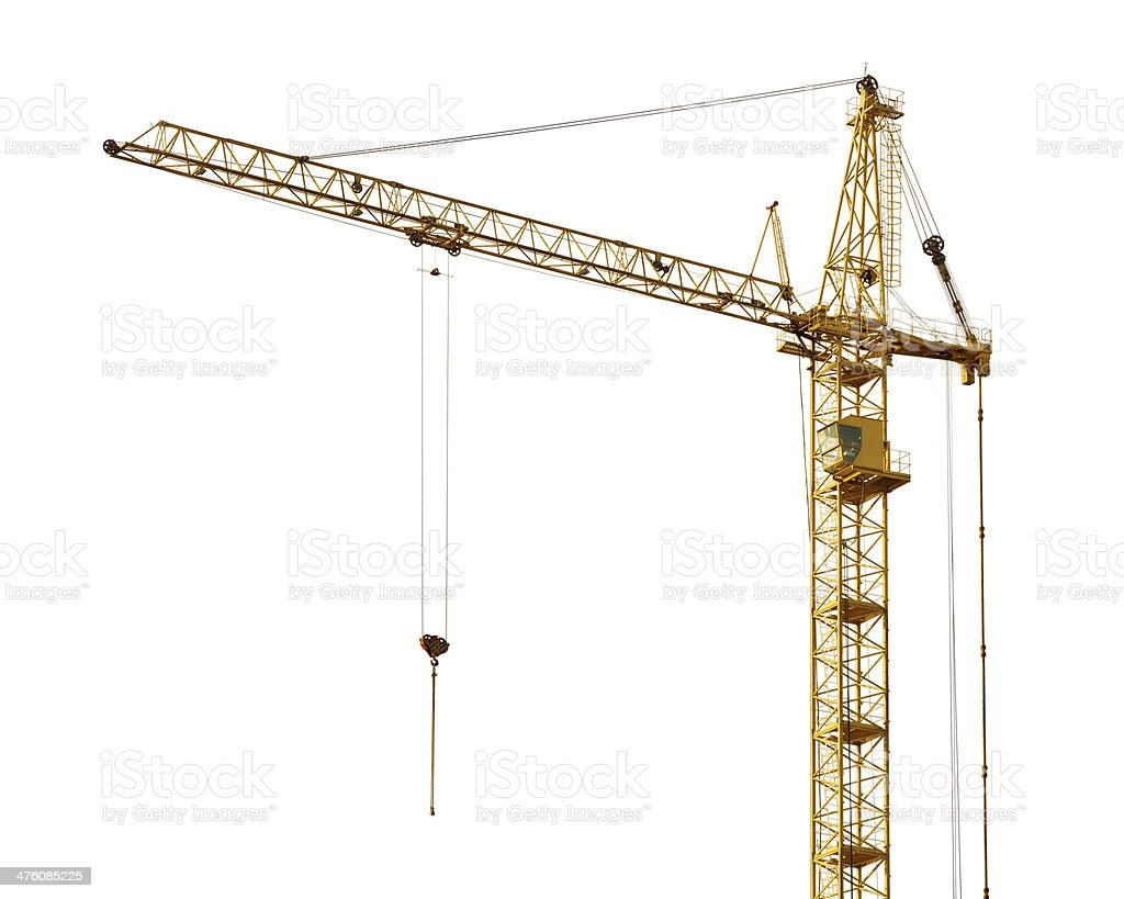 single isolated dark gold hoisting crane stock photo