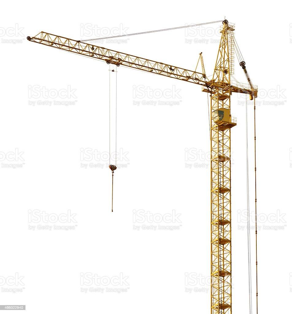 single isolated high dark gold hoisting crane stock photo