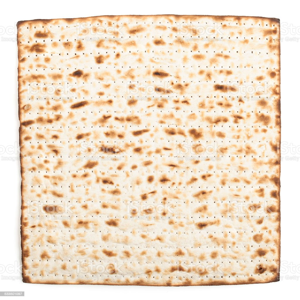 Single isolated Matza stock photo