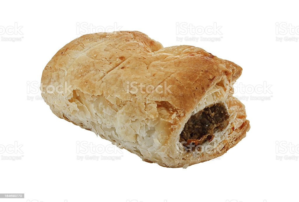 single isolated sausage roll stock photo