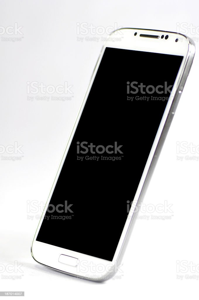 Single isolated white smart phone on a white background stock photo