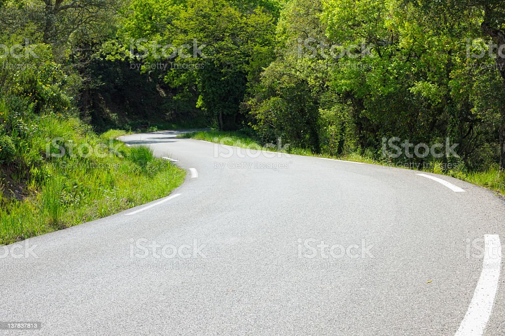 Single Lane Country Road in France Winding into Woodland royalty-free stock photo