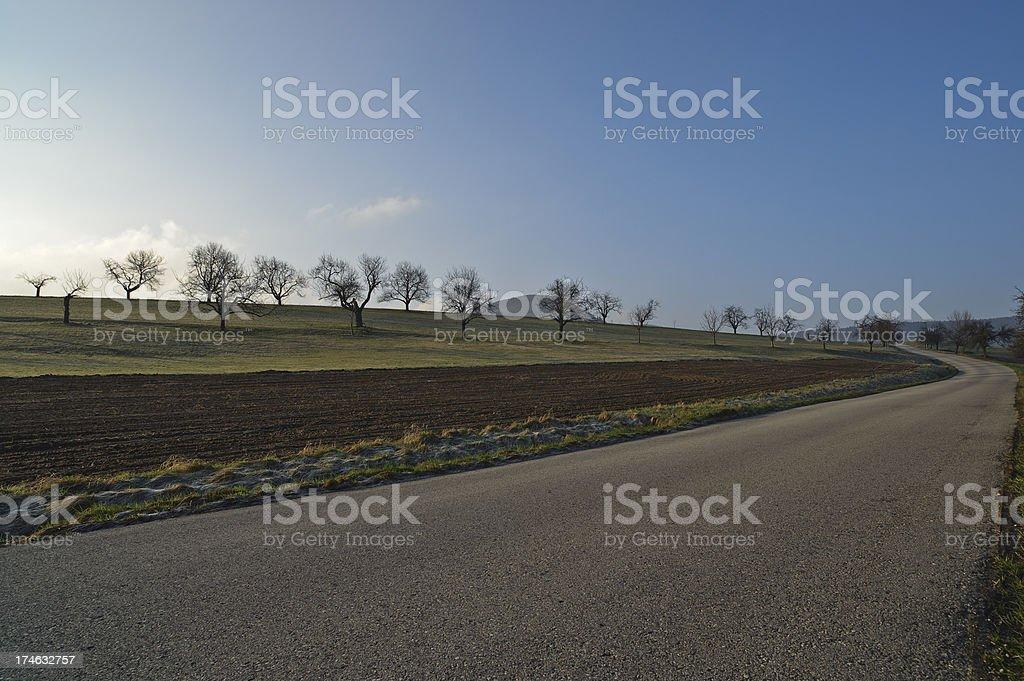 Single lane road at early morning stock photo