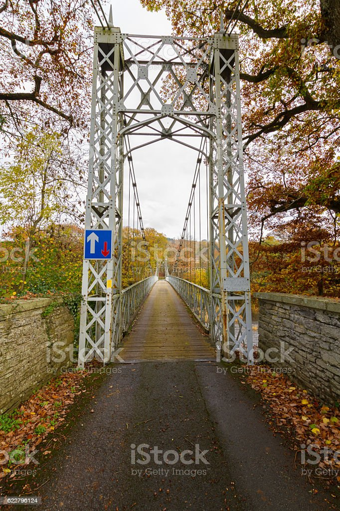 Single lane suspension bridge, Llanstephan stock photo