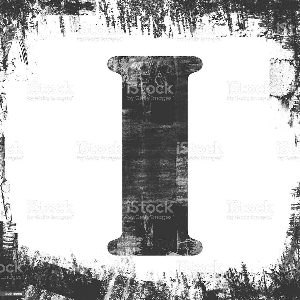 Single Letter I Stamp, Grunge Design royalty-free stock photo