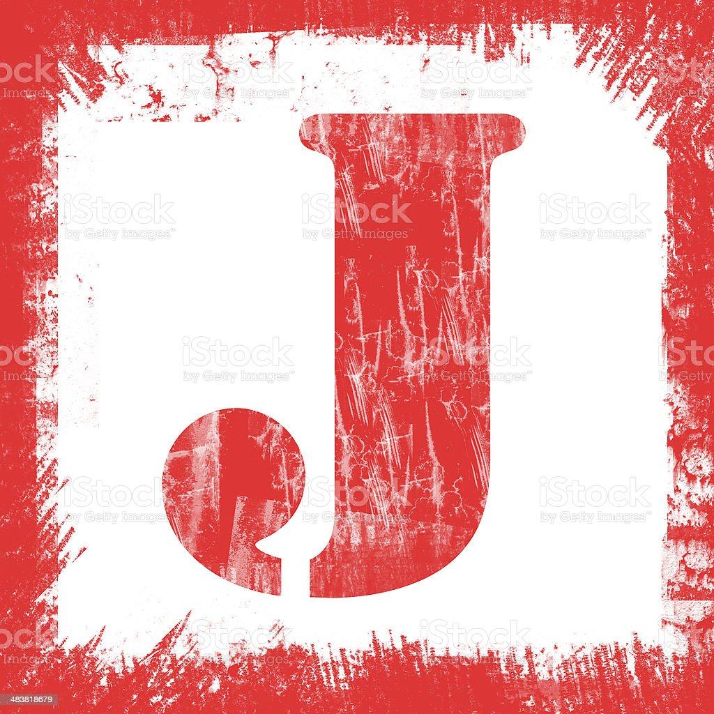 Single Letter J Stamp, Grunge Design royalty-free stock photo