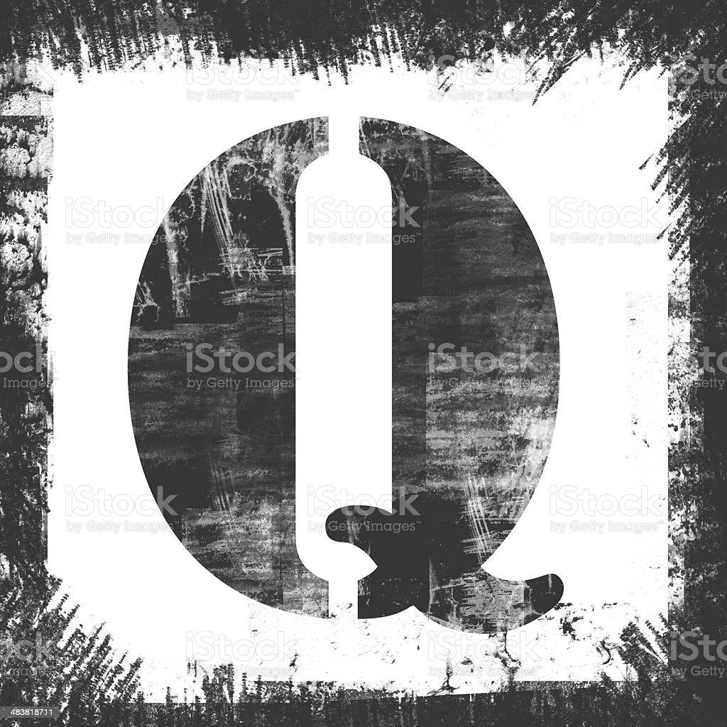 Single Letter Q Stamp, Grunge Design royalty-free stock photo