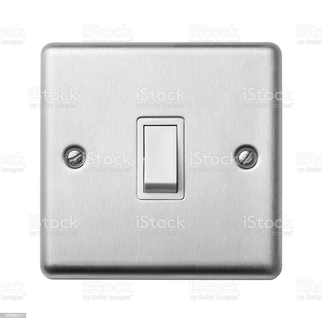 Single light switch on white stock photo