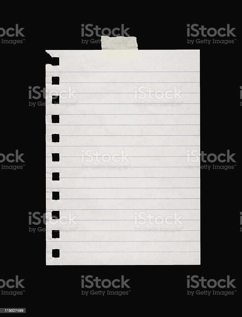 Single lined page torn from a notebook with tape at top royalty-free stock photo